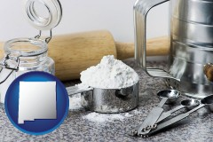 new-mexico baking equipment, flour, and salt
