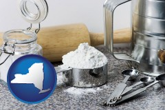 new-york baking equipment, flour, and salt