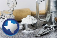 texas baking equipment, flour, and salt