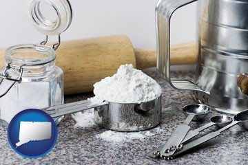baking equipment, flour, and salt - with Connecticut icon