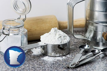 baking equipment, flour, and salt - with Minnesota icon