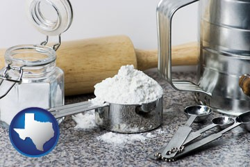 baking equipment, flour, and salt - with Texas icon